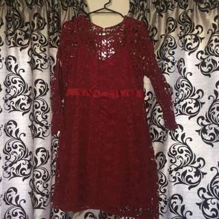 Red cotton lace dress
