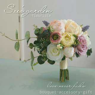 粉色新娘絲花花球wedding bouquet