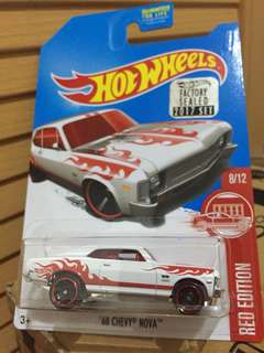 HOTWHEELS FACTORY SEALED 2017 CHEVY NOVA (Red Edition)