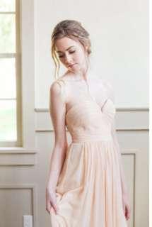 David's bridal sweetheart bodice chiffon tea length dress [free normal mail]