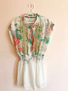 Floral short sleeve rompers / jumpsuits