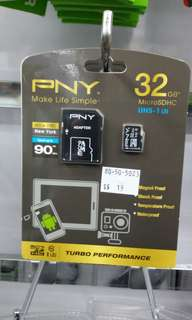 PNY micro SD 32gb with adapter 90mbps