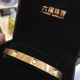 """🈹️六福 18k金鑽石手鐲""""重金 原價$36000 平售$10800 超值"""