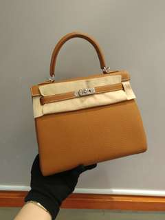 Hermes kelly 25 gold c stamp