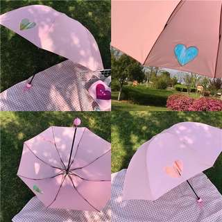 •PO• PASTEL HOLOGRAPHIC HEARTS UMBRELLA