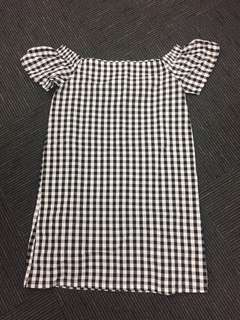 NOW gingham check off the shoulder dress