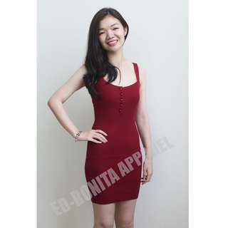 BARDOT BUTTON DRESS (RED)
