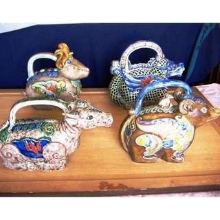 Rare 12 zodiac signs teapot, Zodiac shape vivid and colorful, 稀有十二生肖形像茶壶, 造型生动色彩丰富