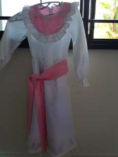 Mary Poppins White Long Dress with Pink Sash Belt 6yrs