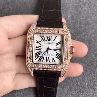 Cartier Santos 100 XL Man Made Diamond Gold Bezel Swiss Engine