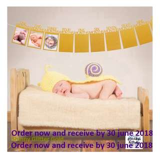 New Colors Baby banners - Gold Baby 12 month banners