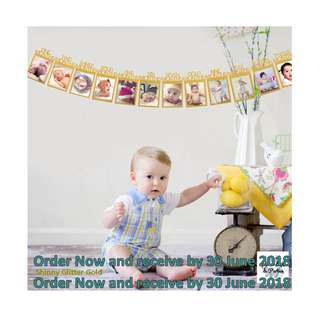 Order your gold party Baby 12 month banners