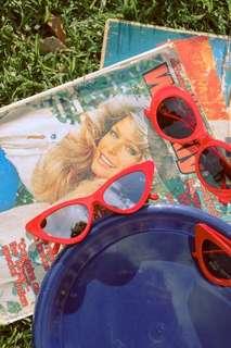 Red cat eye mirror lens