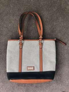 Cellini Handbag - Black, white and brown leather