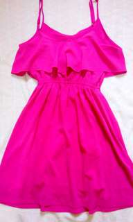 FAB Flounce Dress Pink Small Adjustable Strap