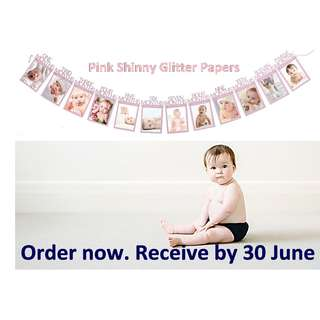 PINK GLITTER SHINNY PAPER 4R -Baby 12 month banners