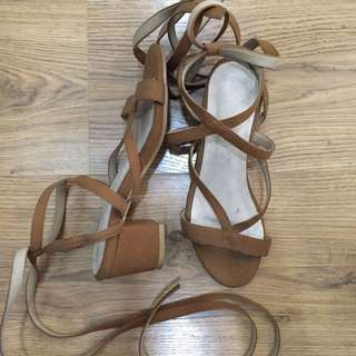Laced up block heeled sandals