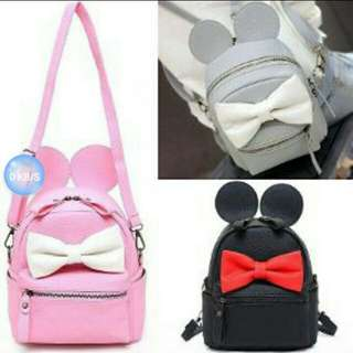 Minnie Mouse 2 way Sling Back Pack w/lovely ribbon