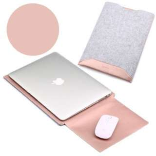 [PO620]2-in-1 Anti-scratch Leather Pouch Bag and Mouse Pad for MacBook 12-inch