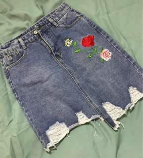 Embroidery jeans skirt #20under