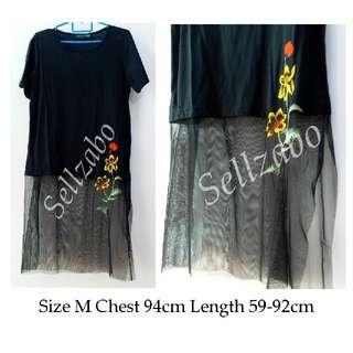 Size M Black Colour Long Lace Tee T-Shirt Top Ladies Girls Women Female Lady Sellzabo #S174