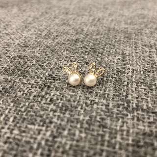 925 Sliver White Pearl Bunny Earrings
