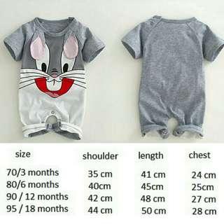 BBAR95851 Bunny Short-sleeved Baby Jumpsuit