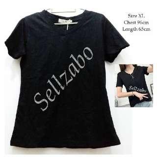 Size XL Black Colour V Neck Tee T-Shirt Top Ladies Girls Women Female Lady Sellzabo #S173