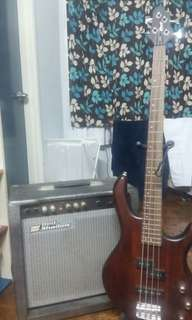 Cort action bass guitar with amp