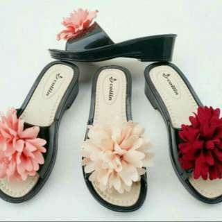Sendal jelly heels big flower