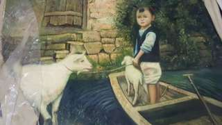 Oil painting of chinese boy with goat