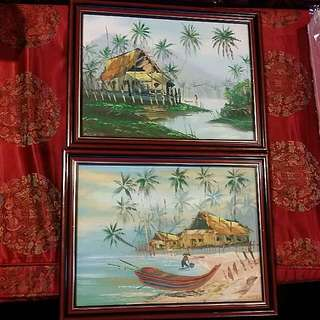Vintage Malaysia Oil Painting 2 Pcs Comes Framed