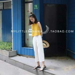 White Culottes with pockets (3 quarter)