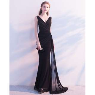 Gown Collection - Sexy Deep V Backless S Lining Mermaid Gown