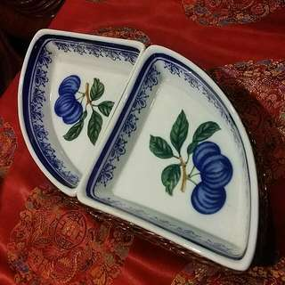 Vintage 2 Porcelain Plates In A Basket.. Unique