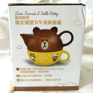 LINE & Hello Kitty teapot and cup set