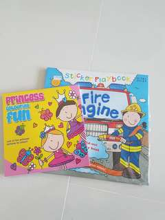 Princess colouring and fire engine activity bk