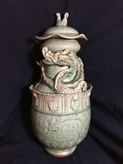 Ming Era Long Chuan Kiln celaron dragon sculptured jar 36cm . Slight chipped at edges. Special offer 250 net price fixed.  明代龍泉窯靑瓷龍罐。到代珍藏。
