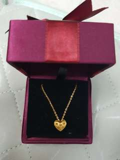 999 gold necklaces with heart shape pendat