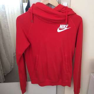 NIKE funnel neck red hoodie