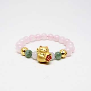 Pure Gold Fortune Cat with Jade and Rose Quartz beads bracelet