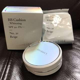 全新包平郵 Laneige bb cushion Whitening SPF 50+ PA+++ No. 2I Beige