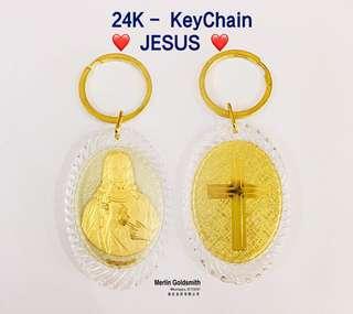 24K Gold Plated JESUS KeyChain