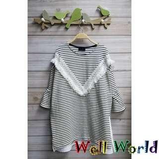 #2184 條紋民族流鬚褸花花邊袖中袖T恤上衣(韓國製造)