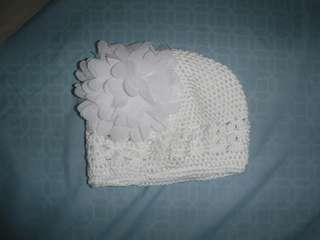 White stretch floral headband & cap
