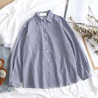 僅試穿~藍白直條襯衫