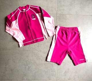 Minnex Girl wet suit 女童游泳保暖套裝 (size 110)