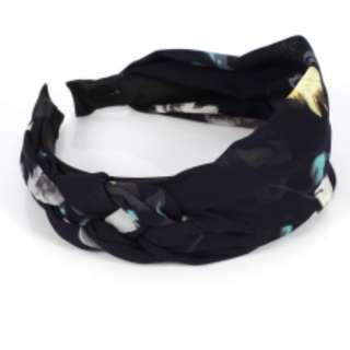 Black Floral Chiffon Headband with side braid details