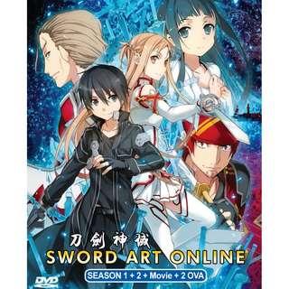 Sword Art Online Sea 1+2 + Moive + 2OVA Anime DVD (Eng Dub)