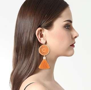 ▶️Bohemia Tassel Rope-Net Dangle Earrings (Orange)